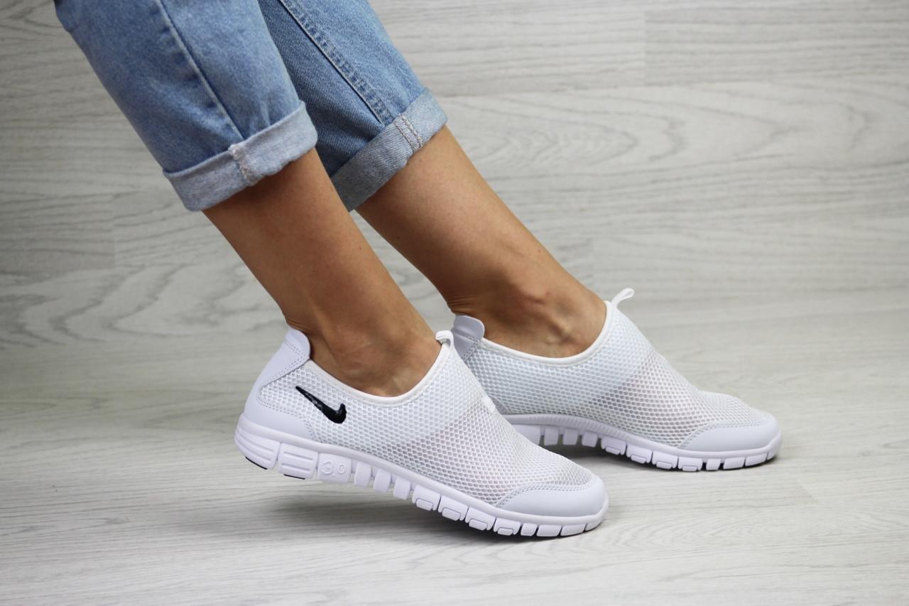 Подростковые,женские летние кроссовки Nike Free Run 3.0 ,белые