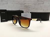 Мужские солнцезащитные очки Prada Прада коричнево-золотые (реплика)