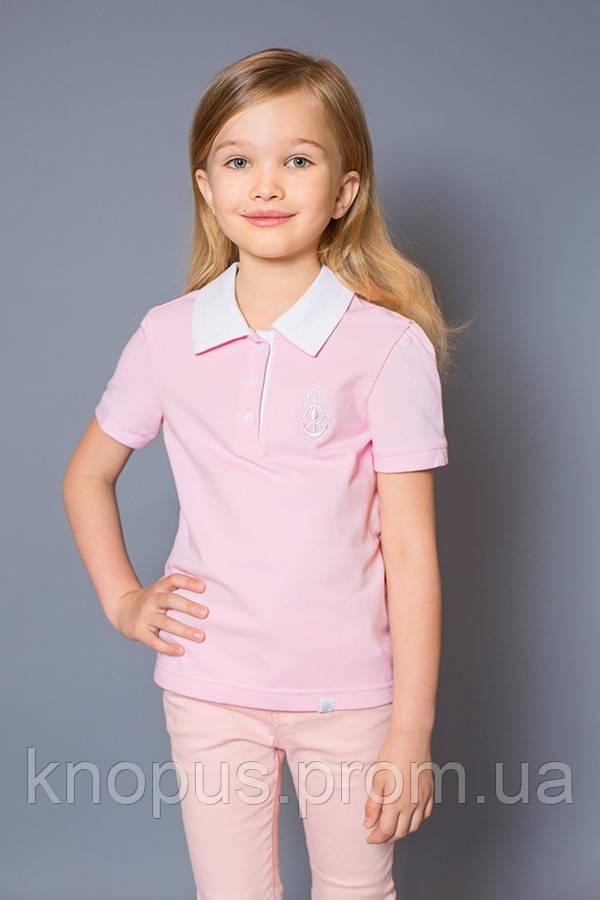 Футболка-поло для девочки (розоваая),  размеры 98-128, Модный карапуз