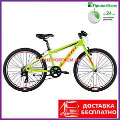 Подростковый велосипед Leon Junior Rigid 24 дюйма салатно-оранжевый