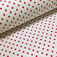 Отрез ткани польский хлопок малиновый горох 10 мм на белом