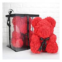 25см Мишка из 3D роз Teddy De Luxe Rose Bear, в коробке 2019 красный