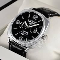 Мужские наручные часы Panerai Luminor 1950 10 Days GMT Quartz Silver Black Оффичине Панерай реплика