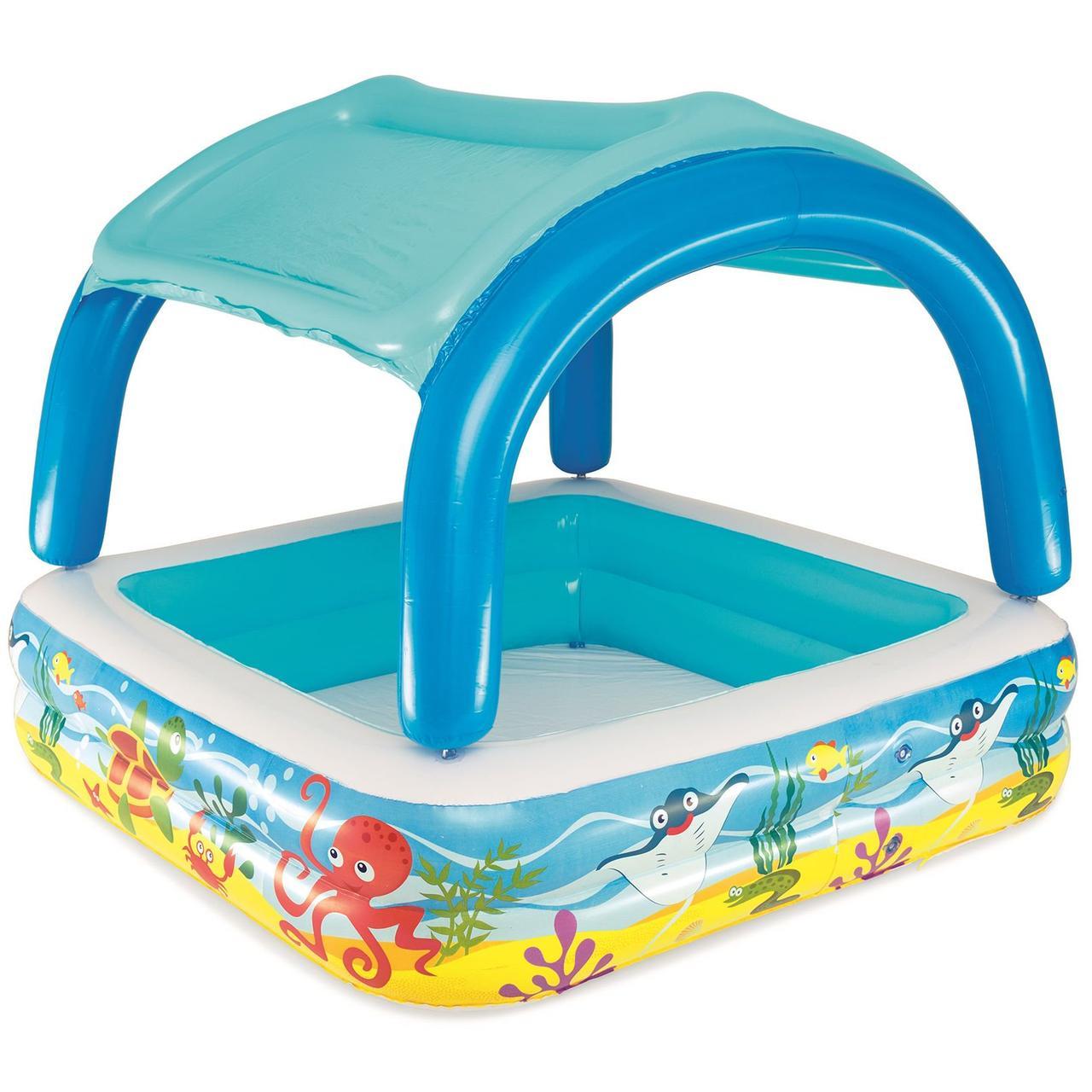 Детский надувной бассейн Bestway с навесом, 147х147х122 см  (52192)