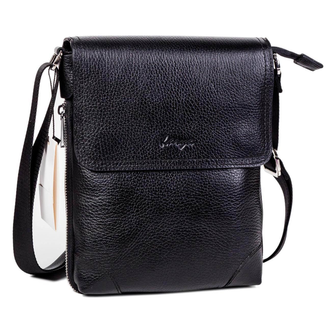 Мужская сумка Karya 0721-45 через плечо кожаная черная