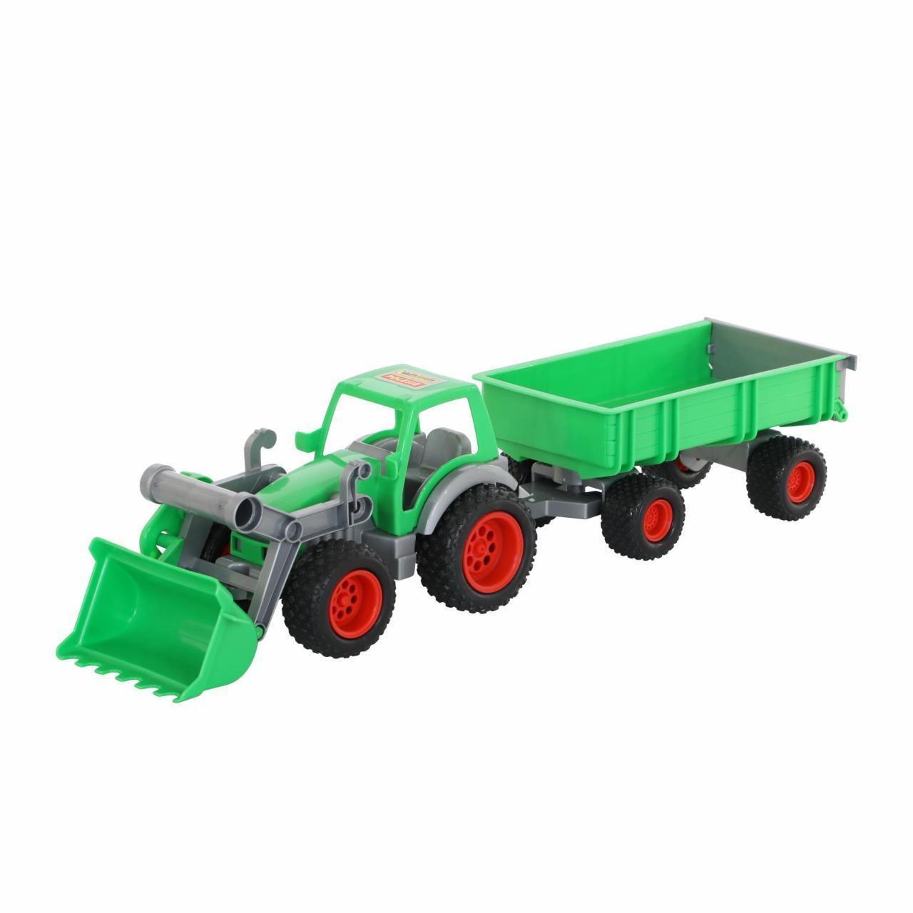 """Трактор-погрузчик """"Фермер-техник"""" с прицепом, резиновые колеса, Полесье, 8817"""