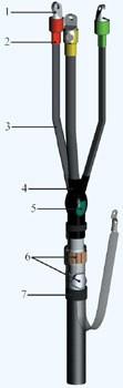 Муфта кабельная концевая 3КВТпН-10 16/25, 6/10 кВ внутренней установки с болтовыми наконечниками