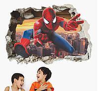 3D интерьерные виниловые наклейки на стены Человек Паук 70-50 см в детскую . Декор, Обои Марвел Мстители