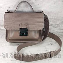 572-1 Сумка женская натуральная кожа пудра кросс-боди с широким ремнем бежевая сумочка через плечо пудра кожан, фото 2