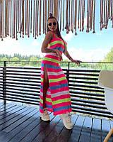 Платье туника Doratti вязаное полосатое в пол с разрезами яркие цвета Smdor3401