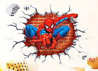 3D интерьерные виниловые наклейки на стены Человек Паук 50-45 см в детскую . Декор, Обои Марвел Мстители