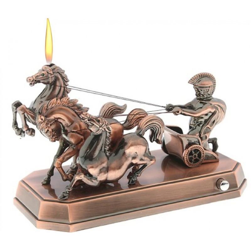 """Зажигалка сувенирная музыкальная - """"Спартанская колесница"""". Настольная, подарочная."""