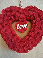 Серце декоративне до Дня Святого Валентина, вінок у формі серця до дня Валентина