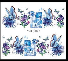"Наклейки для ногтей ""Цветочки с бабочками"" YZW-3002"