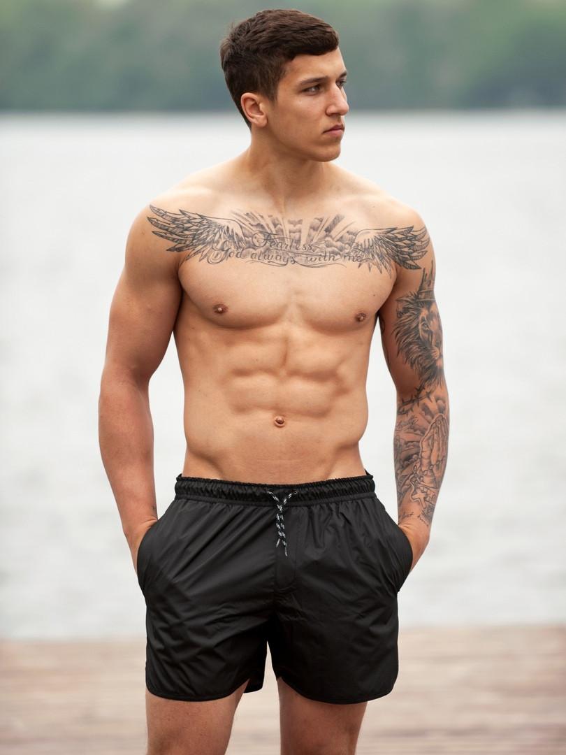 Мужские плавательные шорты BEZET Aqua black '19, черные плавательные шорты