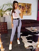 Костюм женский стильный джоггеры и футболка с принтом разные цвета Ds1606, фото 1