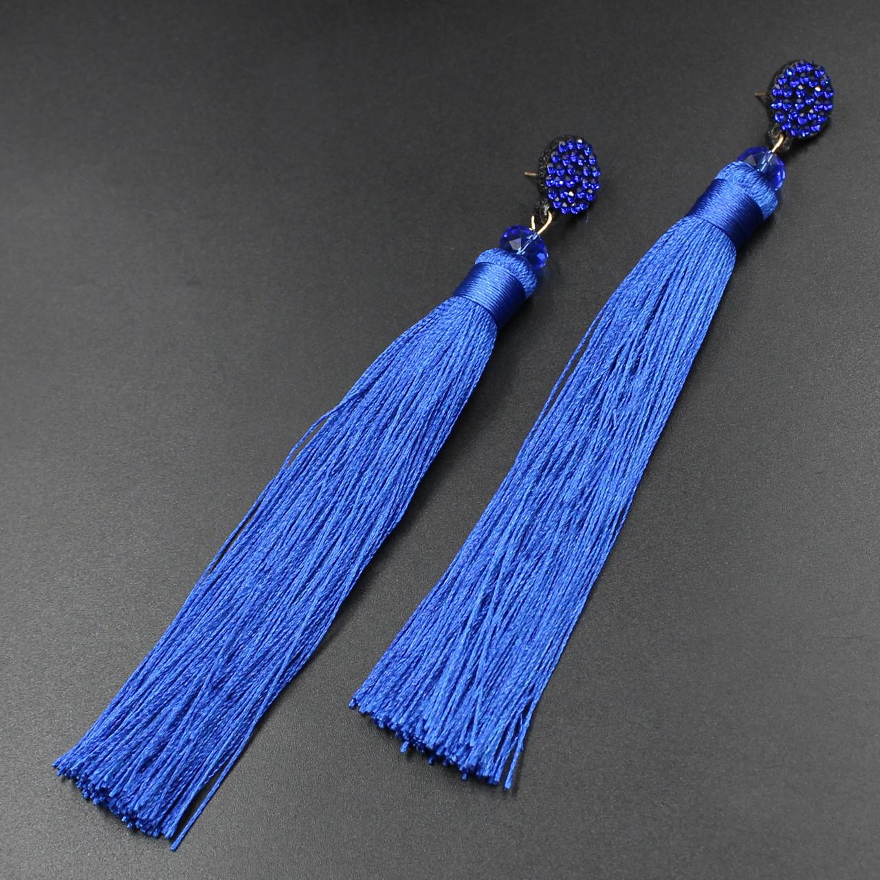 "Серьги-кисти (кисточки)  ""Claribellas blue"" L - 14,5 см"