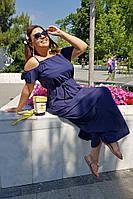 Платье макси летнее темно-синее Большого размера