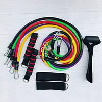 Набор эспандеров для фитнеса многофункциональный 5 жгутов Power Bands в чехле