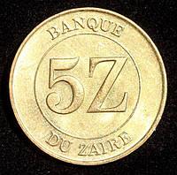 Монета Заира 5 заиров 1987 г.