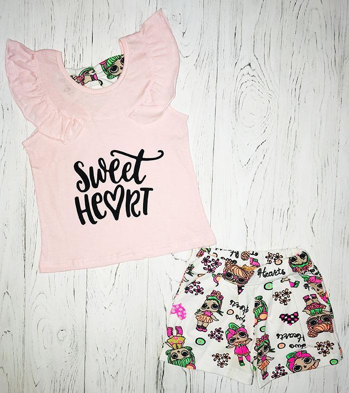 Комплект для девочки летний майка и шорты опт