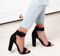 Женские чёрные босоножки на высоком каблуке р.36-41