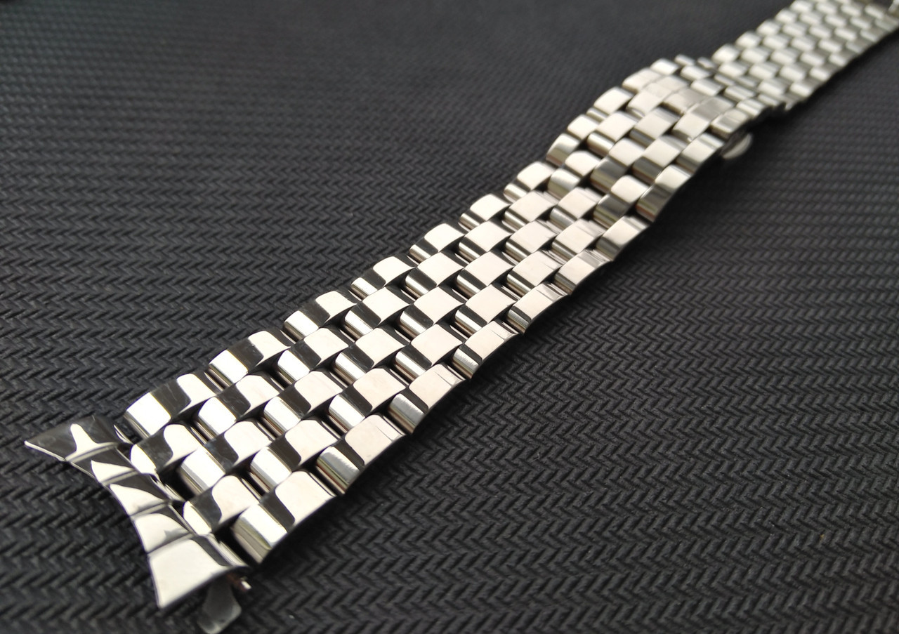 Браслет для часов из нержавеющая стали 316L, литой, глянец. Заокругленное окончание. 18 мм