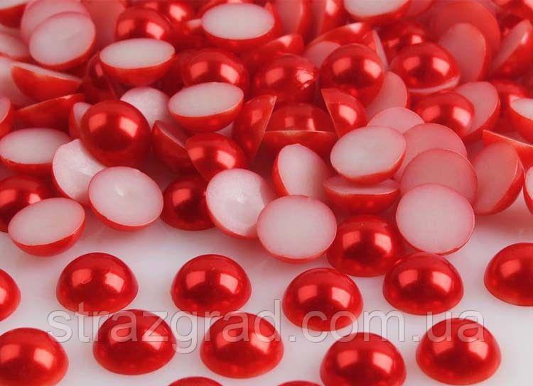 8мм. напів-перли. Колір Червоний. 100шт.