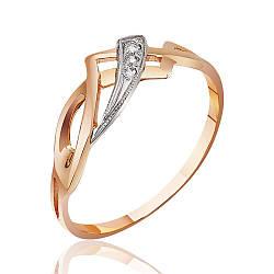 Кольцо  с цирконами, фантазийного плетения, комбинированное золото, КД029 Eurogold