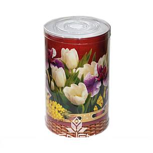 Пластиковый тубус праздничный с цветами, 110*200мм, фото 2