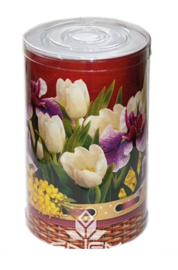 Пластиковый тубус праздничный с цветами, 110*200мм