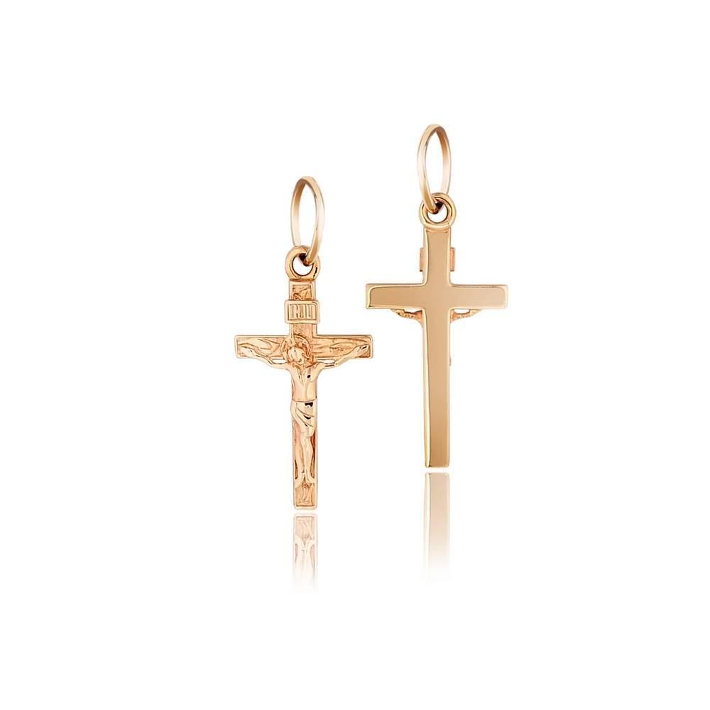 Золотой крест нательный, красное золото, КР0141 Eurogold