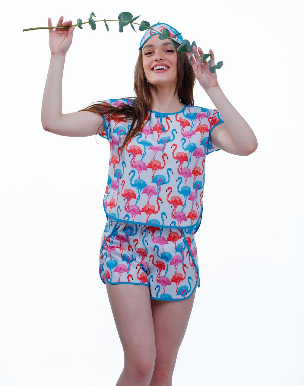 92ec054e294c Жіноча піжама футболка+шорти+маска для сну Alisa Flamingo M бавовна 100% -