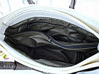 Женская сумка в цвете белый+графит с переливом, из искусственной кожи (под бренд), фото 2