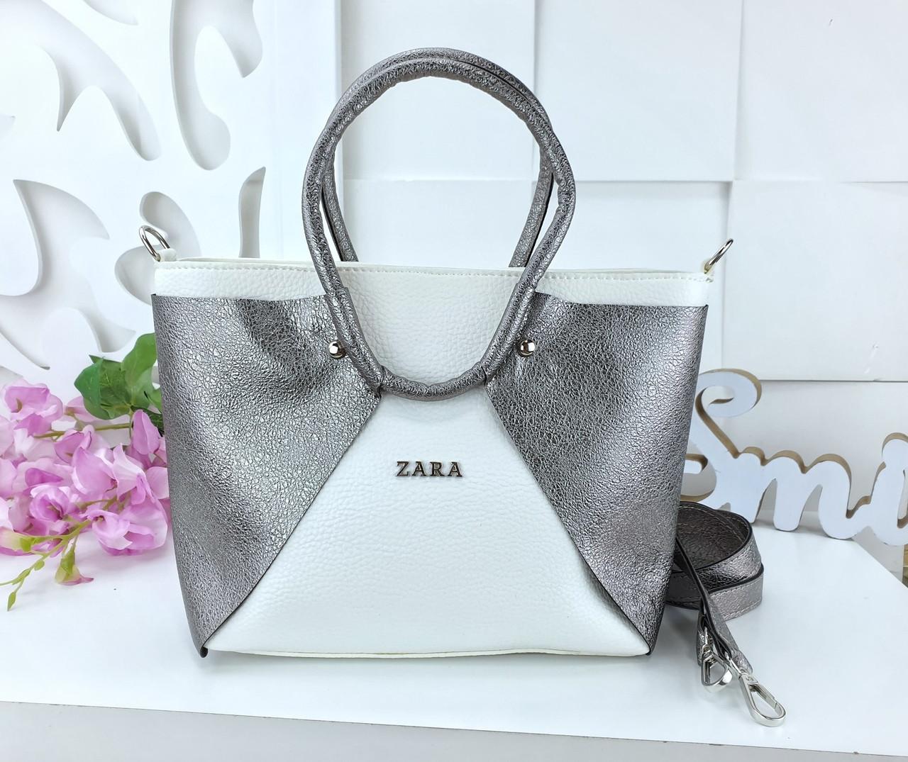 Женская сумка в цвете белый+графит с переливом, из искусственной кожи (под бренд)