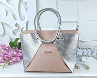 Женская сумка в цвете пудра+серебро с переливом из искусственной кожи (под бренд)