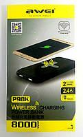 Бездротовий зовнішній акумулятор (пауербанк) Awei P98K 8000 мАч PowerBank