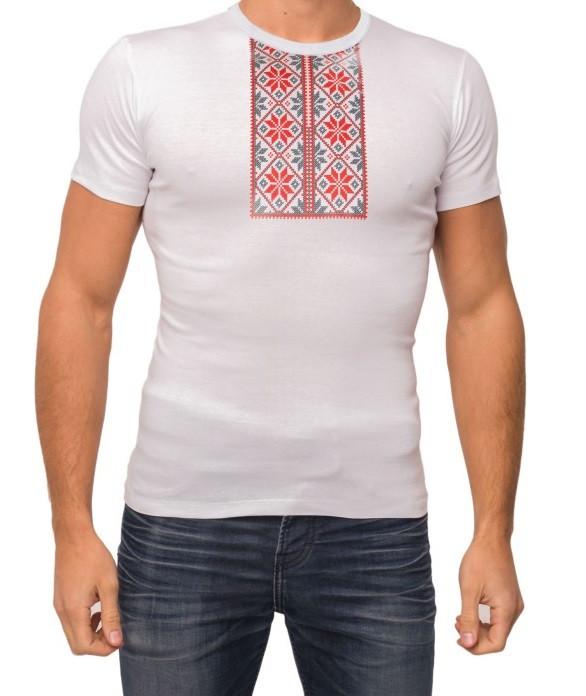Біла футболка чоловіча вишиванка річна трикотажна бавовна (Україна)