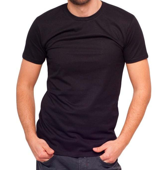 Чорна футболка чоловіча спортивна річна без малюнка приталені трикотажна бавовна (Україна)