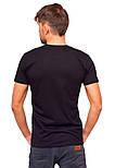 Чорна футболка чоловіча спортивна річна без малюнка приталені трикотажна бавовна (Україна), фото 2