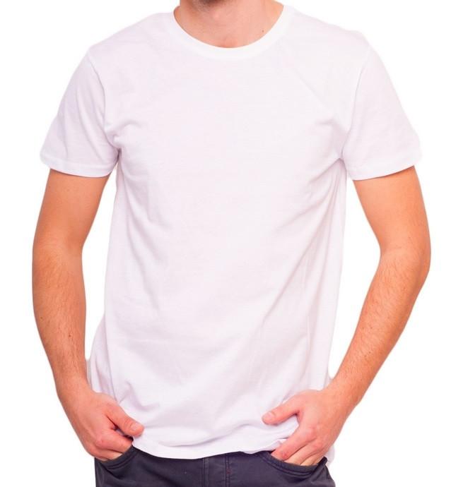 Белая футболка мужская спортивная летняя без рисунка приталенная трикотажная хб (Украина)