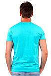 Футболка мужская спортивная летняя без рисунка голубая приталенная трикотажная хб (Украина), фото 2
