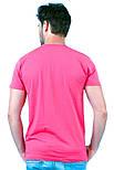 Футболка мужская спортивная летняя без рисунка розовая приталенная трикотажная хб (Украина), фото 2