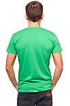 Футболка мужская спортивная летняя без рисунка зеленая приталенная трикотажная хб (Украина), фото 2