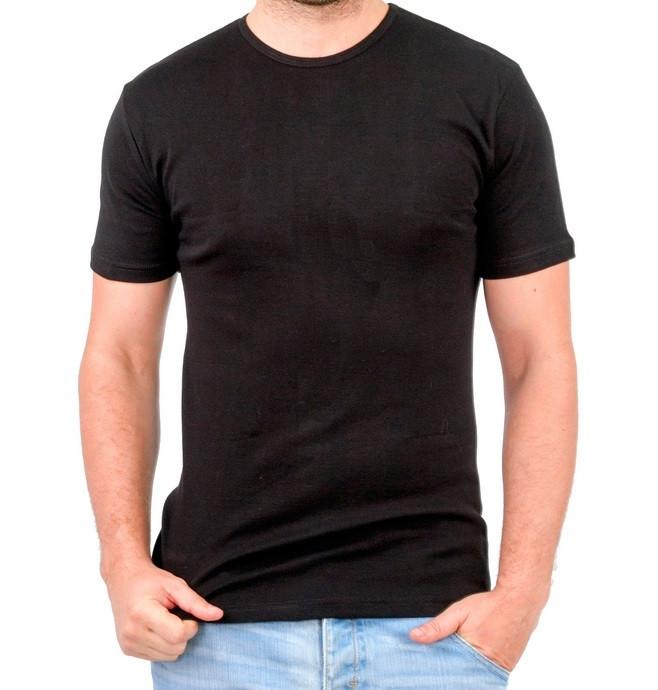 Черная футболка мужская спортивная летняя без рисунка трикотажная хб (Украина)