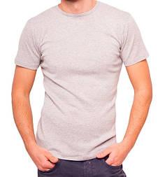 Сіра футболка чоловіча спортивна річна без малюнка трикотажна бавовна (Україна)