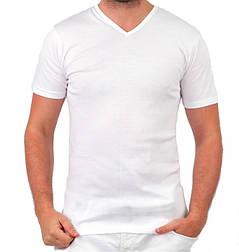 Біла футболка чоловіча спортивна річна без малюнка трикотажна бавовна (Україна)