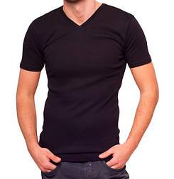 Чорна футболка чоловіча спортивна річна без малюнка трикотажна бавовна (Україна)