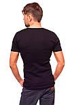 Черная футболка мужская спортивная летняя без рисунка трикотажная хб (Украина), фото 2