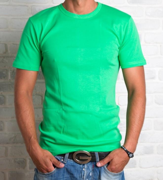 Футболка чоловіча спортивна річна без малюнка зелена трикотажна бавовна (Україна)
